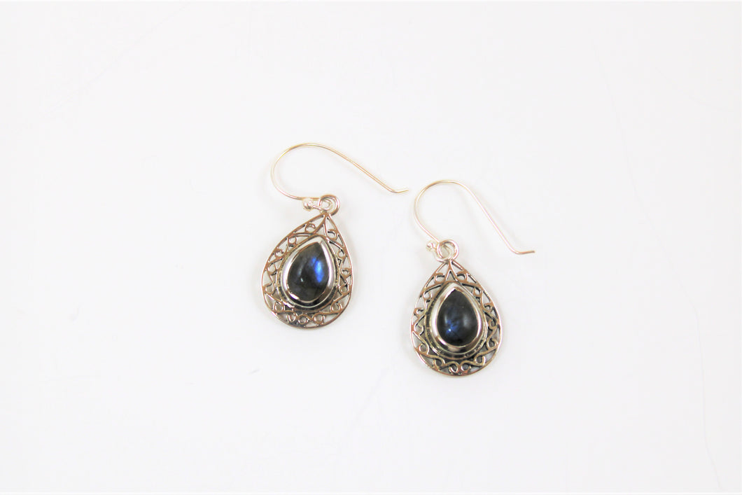 Labradorite & Sterling Silver Filagree Earrings