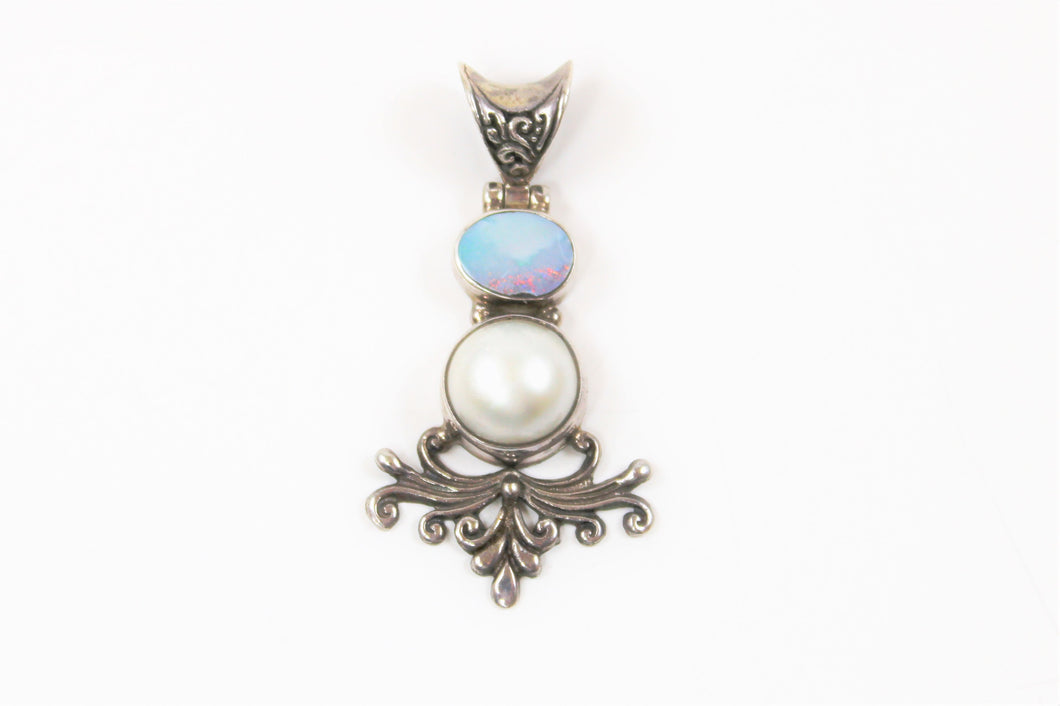 Ornate Australian Opal and Mabe Pearl Pendant