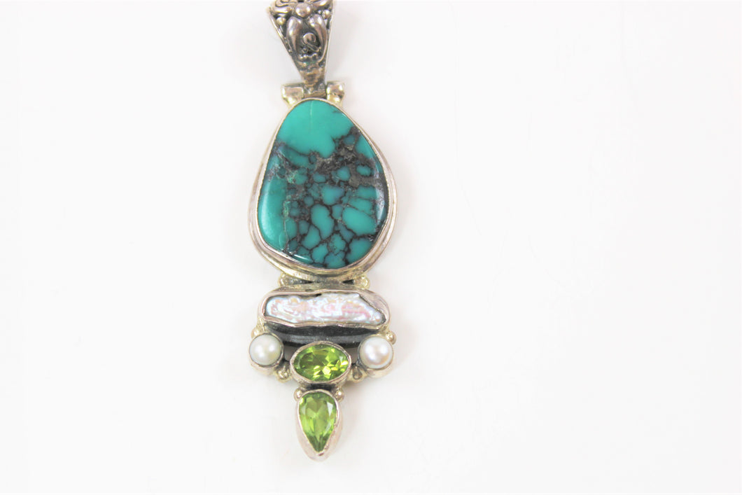 Pendant in Turquoise, Peridot and Pearl