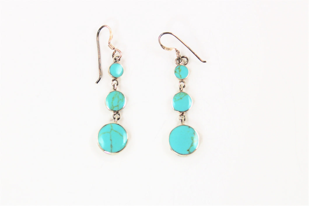 Three Drop Turquoise Earrings