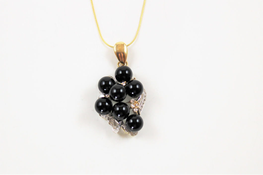 Diamond & Onyx on 14kt Yellow & White Gold Necklace
