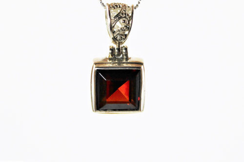 Princess Cut Garnet Pendant