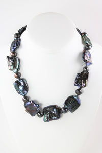 Black Mother of Pearl and Black Pearl Necklace