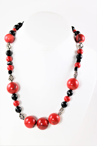 Red Coral, Black Onyx & Sterling Silver Necklace