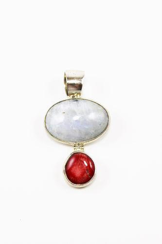 Moonstone & Red Coral Pendant