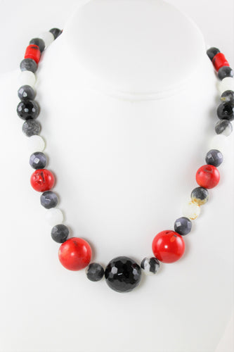 Red Coral, Obsidian and Black Onyx Necklace