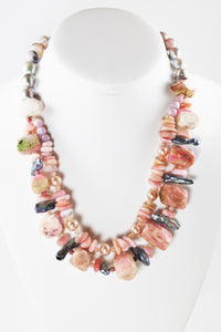 Rhodochrosite,  Stick Pearls and Pink Pearls Necklace
