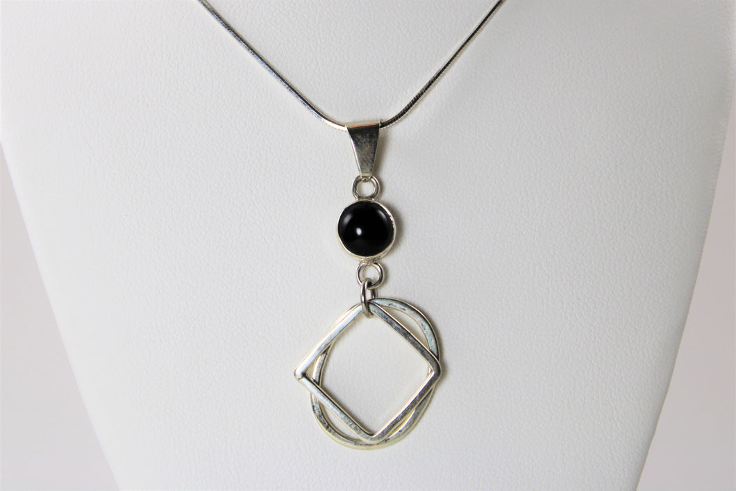 Two Cut Sterling Silver and Onyx Necklace