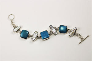 Turquoise & Stick Pearl Bracelet