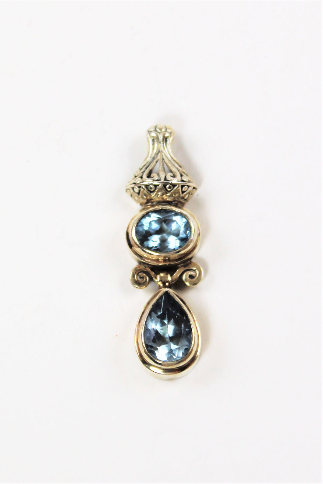 Blue Topaz Double Pendant
