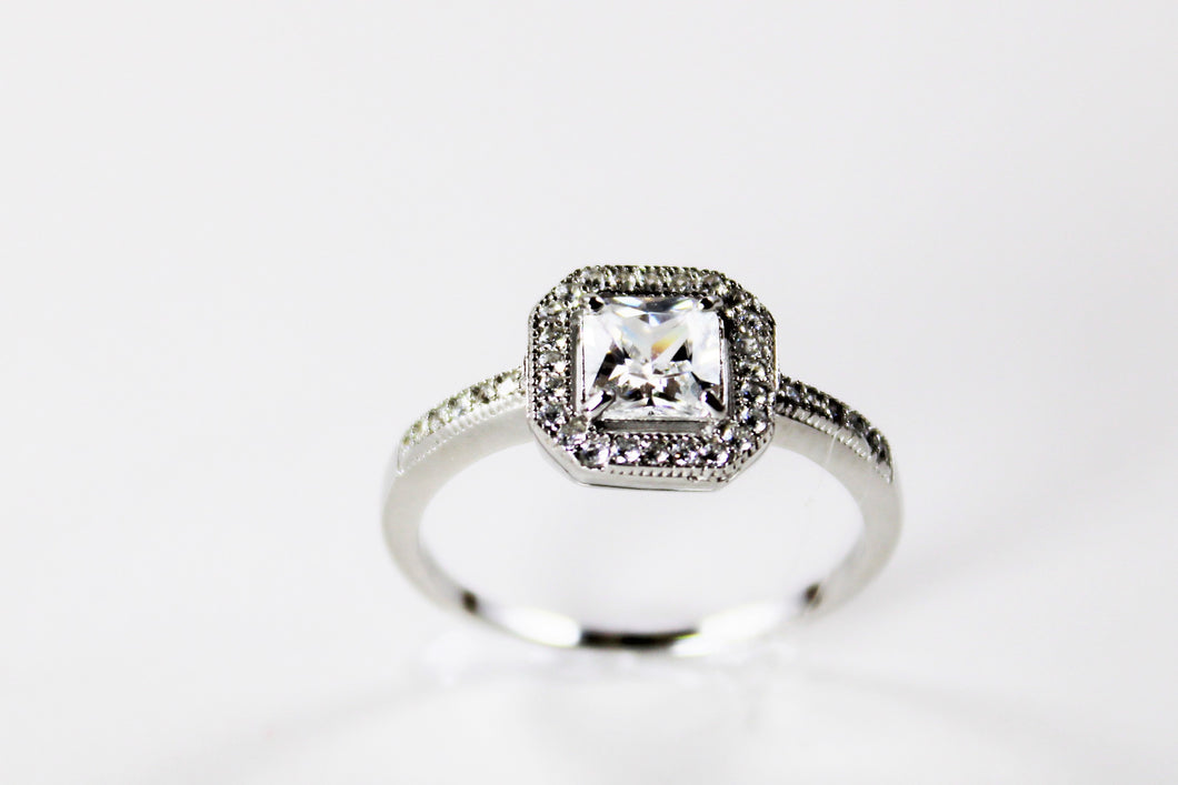 White Topaz Princess Cut Ring