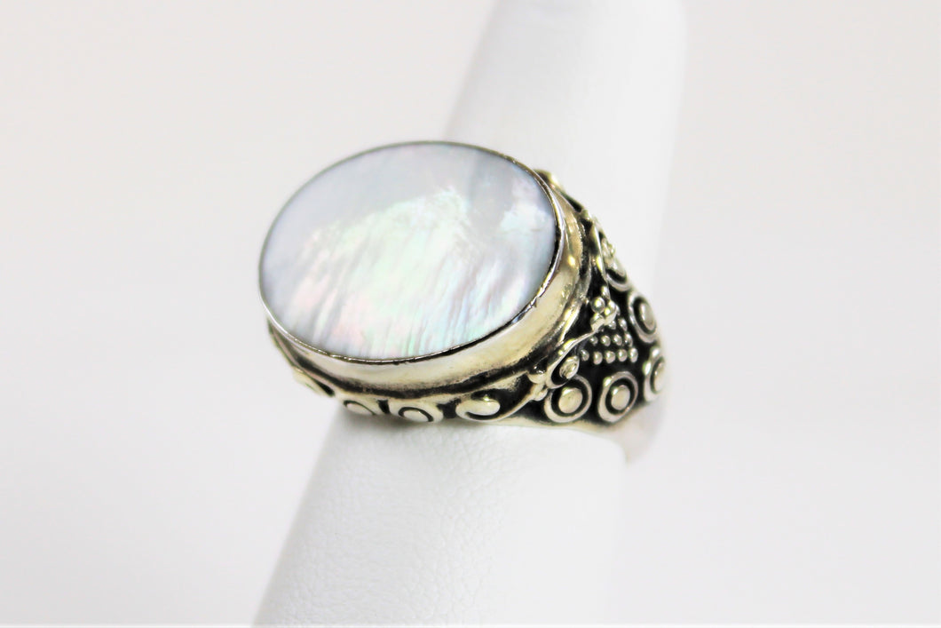 Mother of Pearl in Filigree Sterling Silver - Sale Item!  Only 1 Available in Size 6
