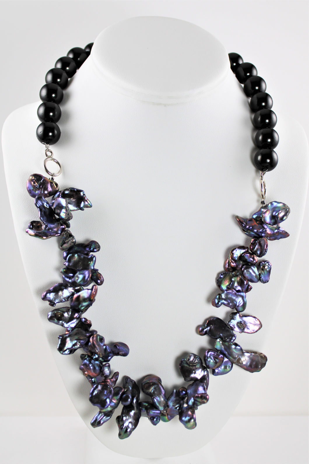 Black Mother of Pearl Shell and Pearl Necklace