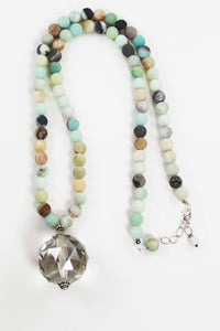 Blue Jasper with Crystal Quartz Necklace