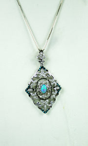 Opal, White Topaz & Blue Topaz Necklace