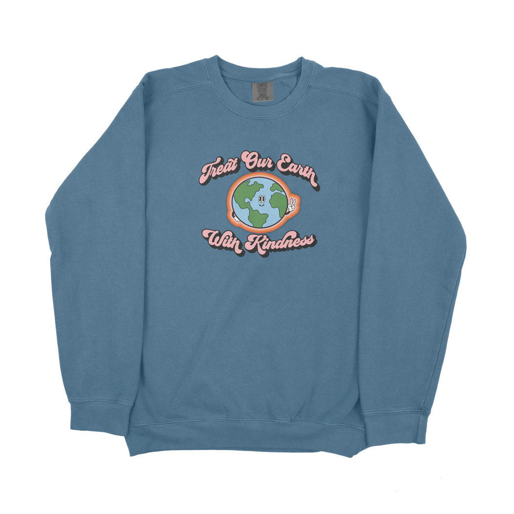 Treat Our Earth With Kindness Retro Comfort Colors Sweatshirt