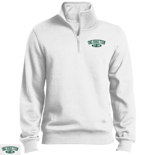 Embroidered 1D Quarter Zip Sweatshirt Forest Green Thread