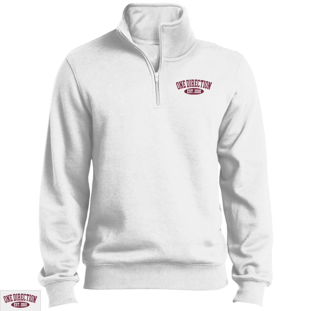 Embroidered 1D Quarter Zip Sweatshirt Maroon Thread