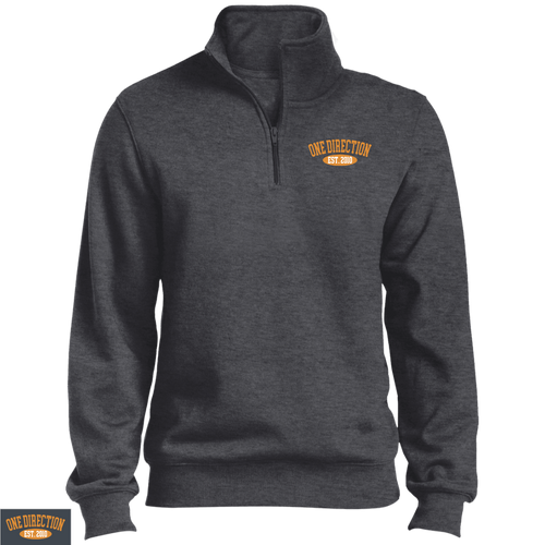 Embroidered 1D Quarter Zip Sweatshirt Gold Thread