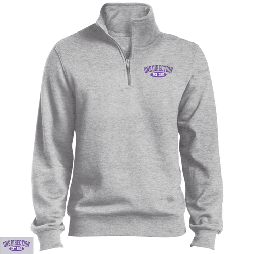 Embroidered 1D Quarter Zip Sweatshirt Purple Thread