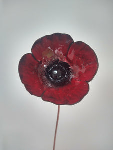 Enamelled poppy