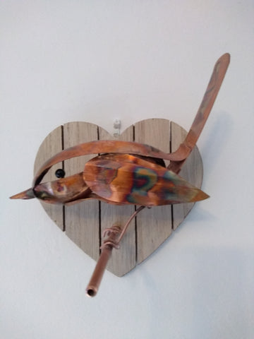 Copper wren sculpture
