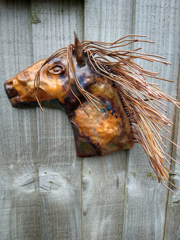 Copper horse head