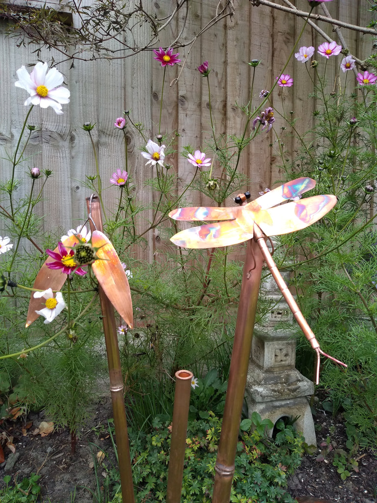 Copper bamboo with dragonfly garden stake