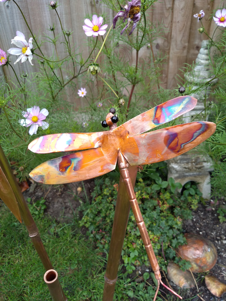 Copper bamboo with dragonfly garden stake - Deshca Designs