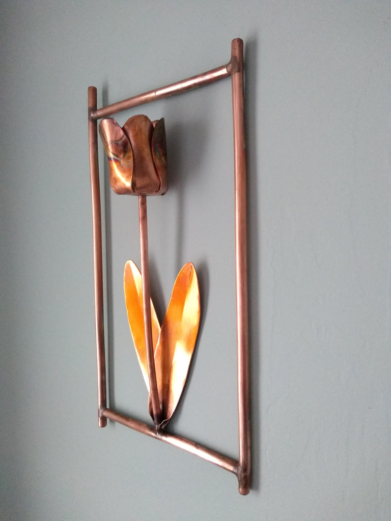 Copper tulip wall hanging