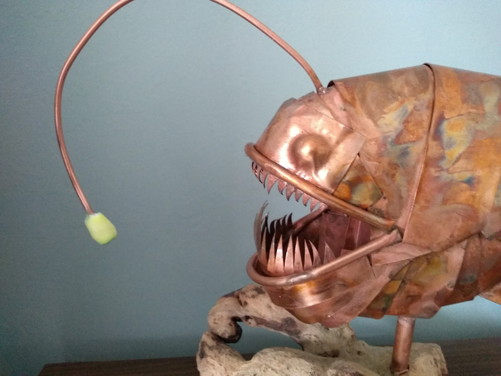 Anglerfish copper sculpture