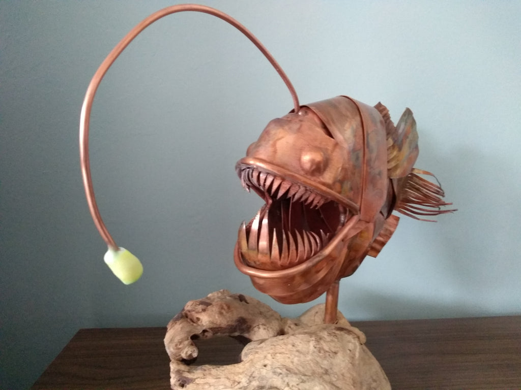Anglerfish copper sculpture - Deshca Designs
