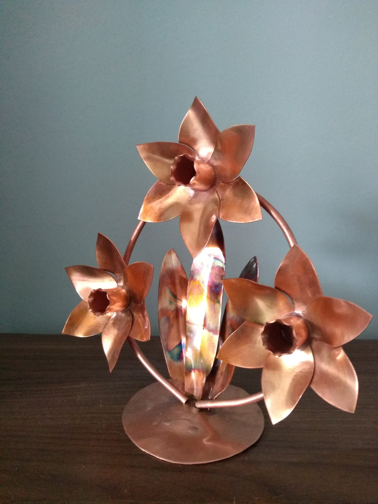 Copper daffodils sculpture