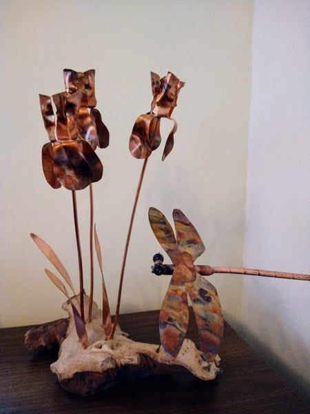 Copper Iris sculpture