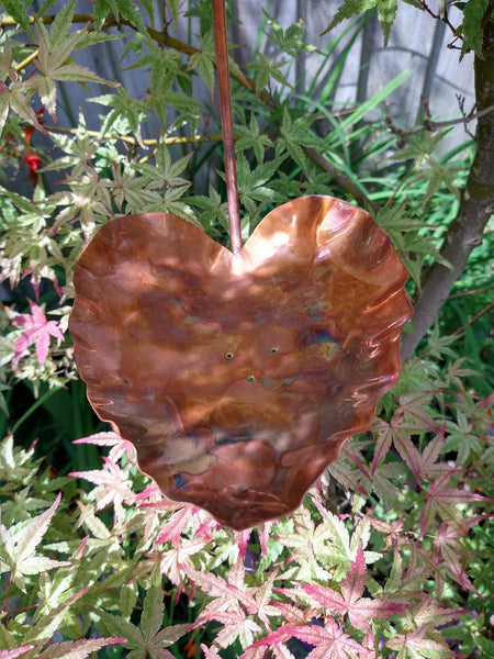 Hanging copper bird feeder