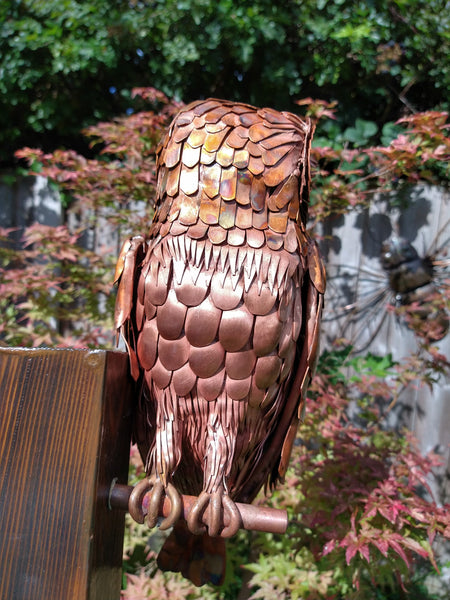 Copper barn owl sculpture