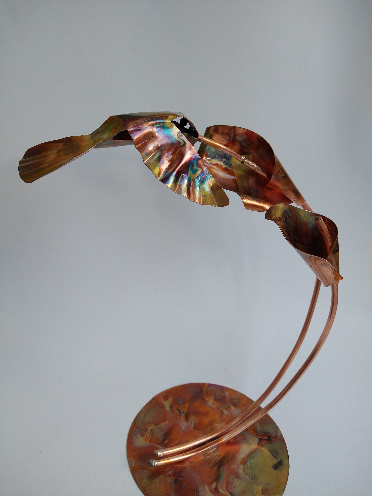 Metal hummingbird sculpture