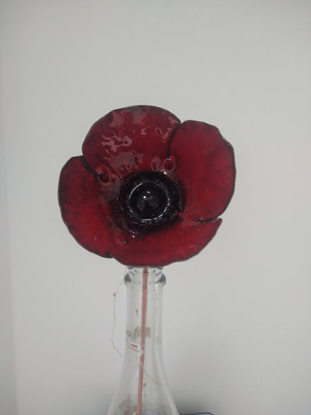Enamelled copper poppy