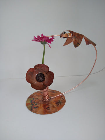 Copper hummingbird sculpture