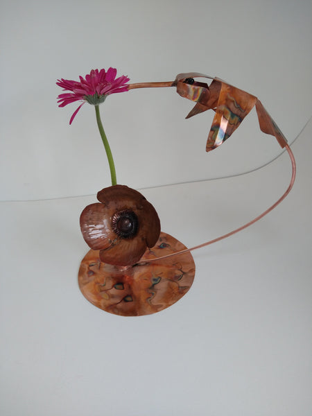 Copper hummingbird vase sculpture