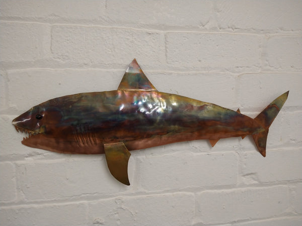 Copper shark wall hanging
