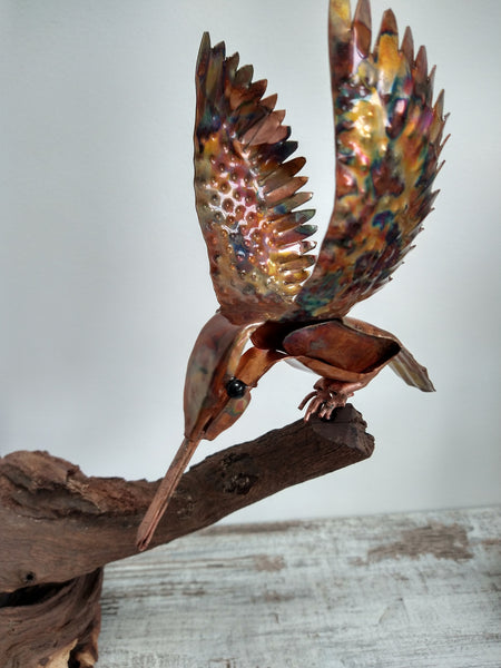 Kingfisher and mouse sculpture