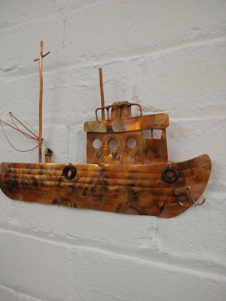 Copper fishing boat wall hanging