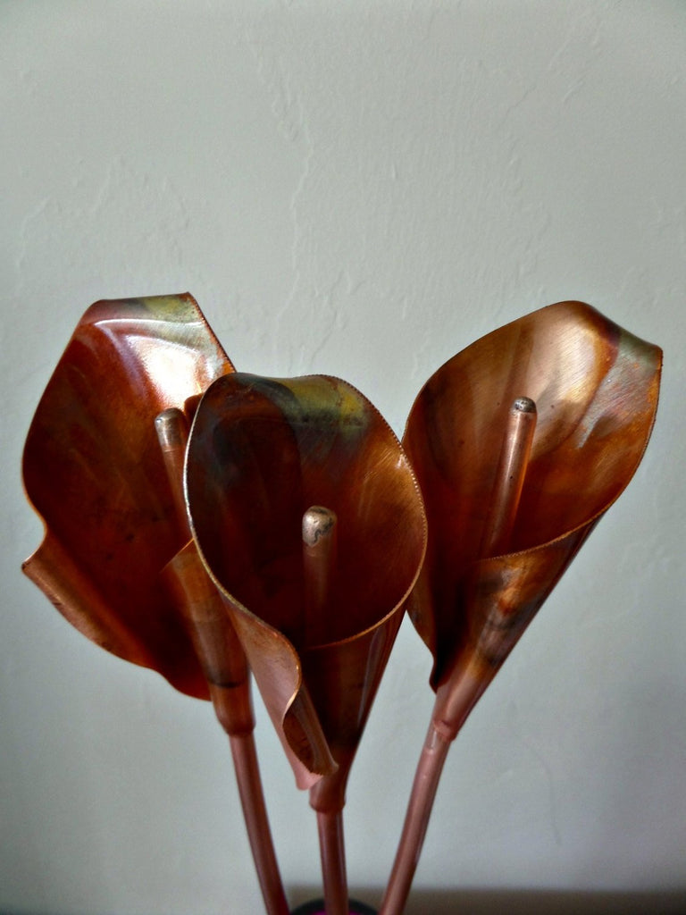 Copper Calla Lily, copper anniversary, metal flower, home decor, 7th anniversary gift, copper flower, wedding anniversary gift, copper gift - Deshca Designs