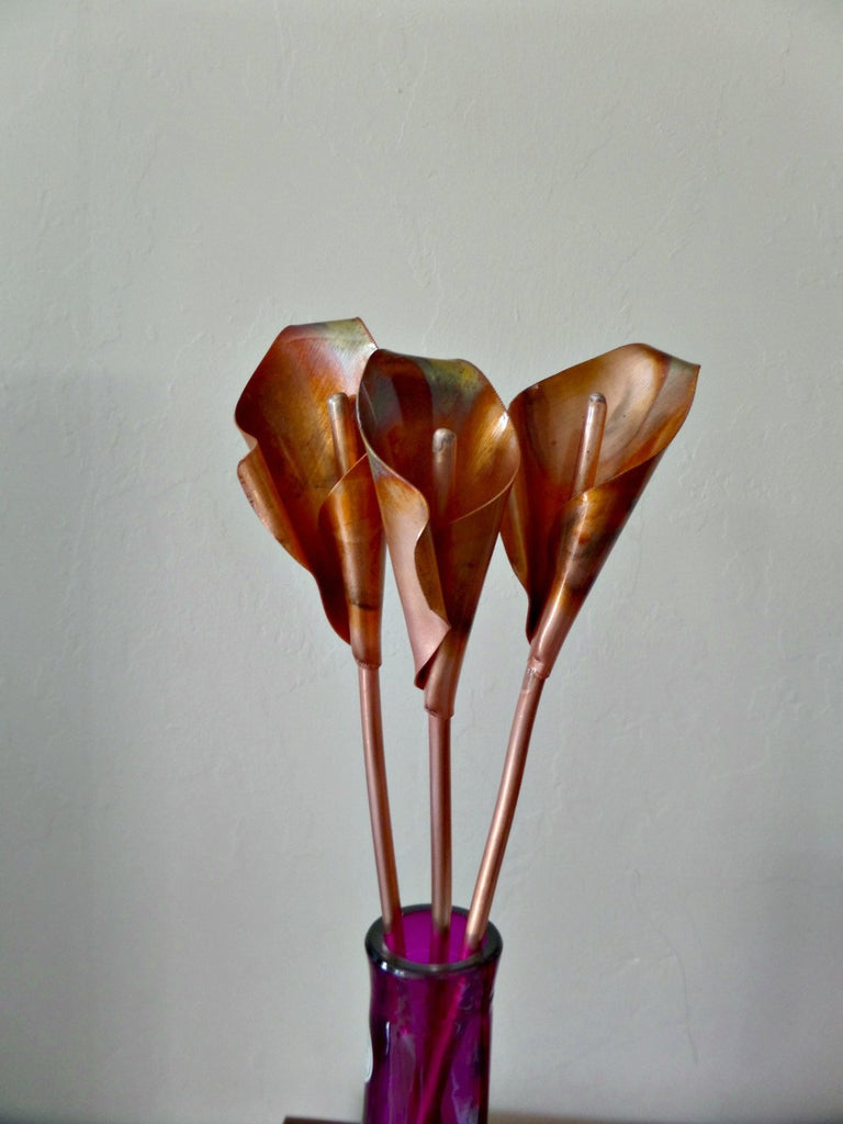 Calla lily, metal flowers, 7th anniversary gift, copper anniversary, wedding anniversary - Deshca Designs