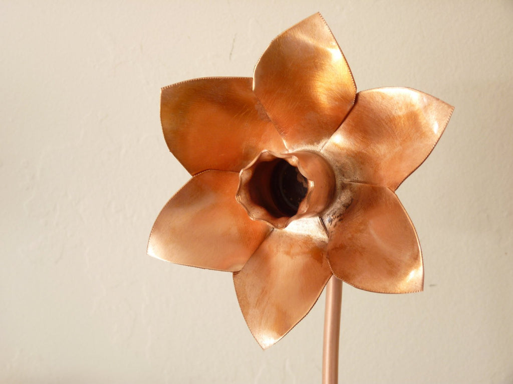 Copper daffodil, metal flower home decoration - Deshca Designs