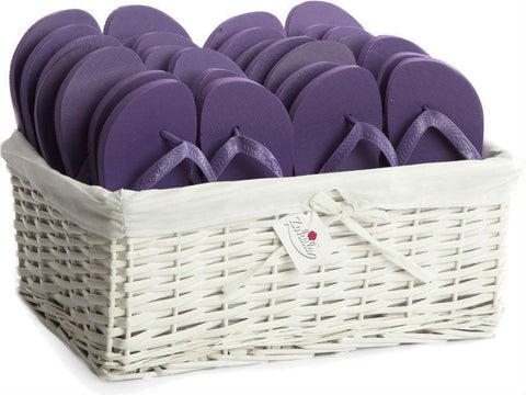 purple flip flops in a basket