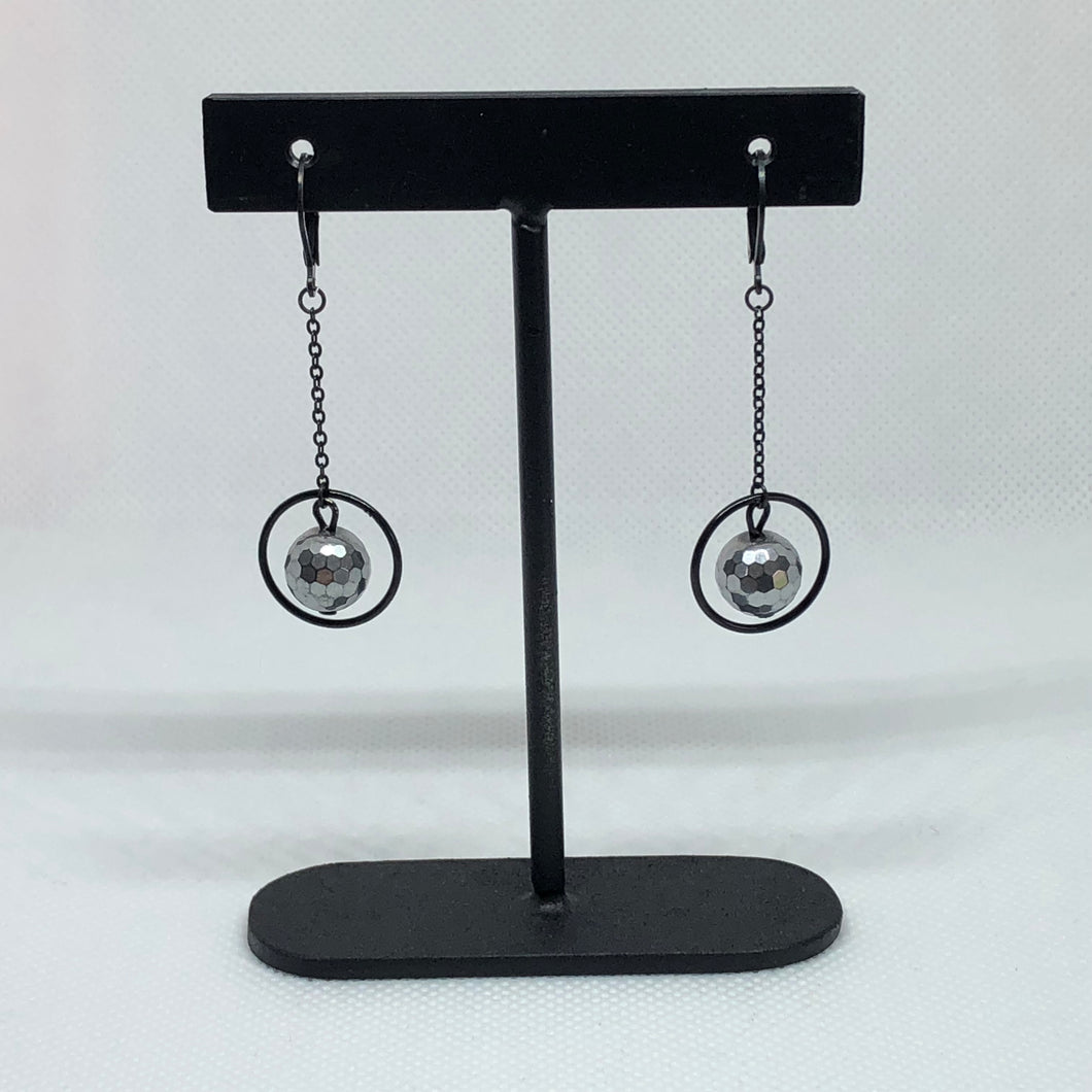 Stuck In The Middle - Faceted Hematite - Earrings
