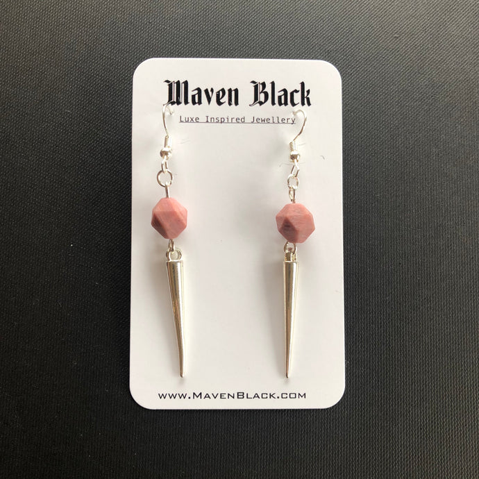 Everlong pink rhodonite earrings
