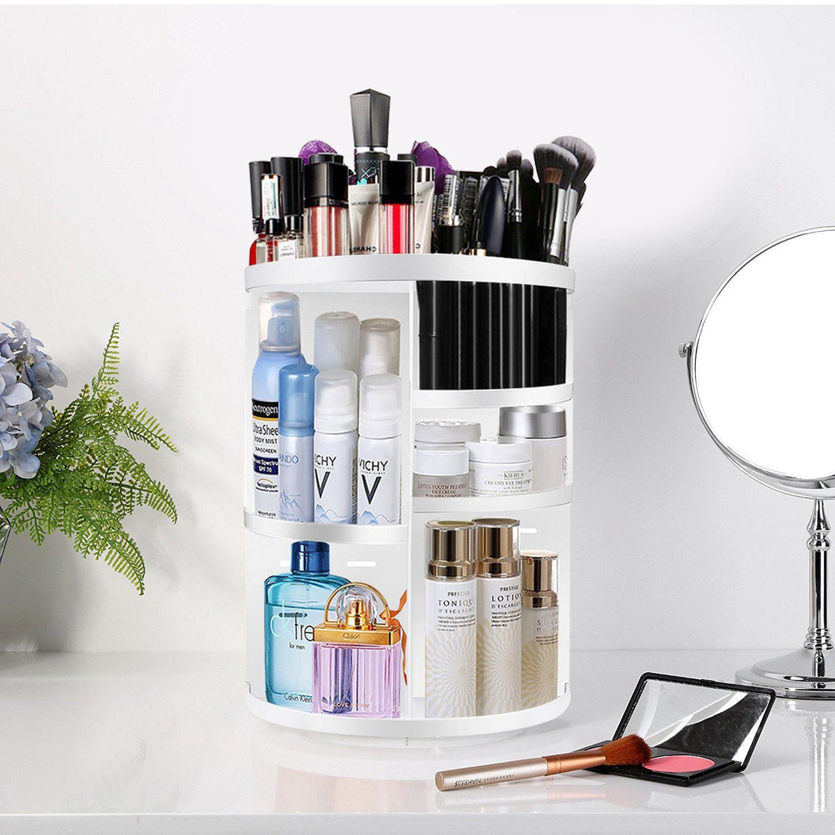 Makeup Organizer 360 Degree Rotational - The Multi-Function Cosmetic Storage   Roxee